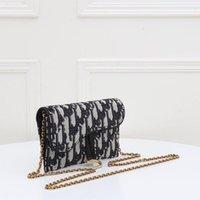 Dame Messenger Bag Sattel Brieftasche Blau Twill Jacquard Kettendruck Handtasche Metall Logo Größe 19-11 cm Plus Box