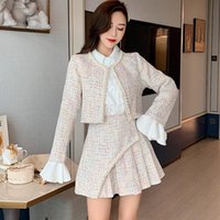 Two Piece Dress Luxury Designer Women Fashion White Chiffon Shirt +Nail Beading Tweed Short Jacket + Pleated Mini Skirt Three Set