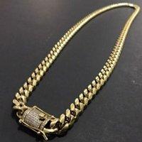 رجل 18K الصلب لهجة الذهب 316L قلادة الفولاذ المقاوم للصدأ كبح سلسلة رابط الكوبية مع الماس قفل قفل 8 ملليمتر / 10mrnfu