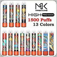 2021 MASKKING High Pro MAX Penna vape monouso e dispositivo di sigaretta con luci 850mAh Batteria 4.5ml cartuccia precompilata POD 1500 sbuffi mk kit vs flume