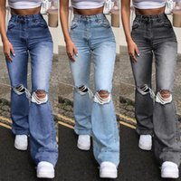 Women's Jeans Fashion Full Length Loose Wide Leg Denim Pants Cotton Ripped Mom High Waist Autumn 2021 Stright Trousers