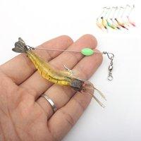 5 pçs / lote 8.5cm / 6g Luminous camarão Silicon Bait artificial macio com ganchos gira anzois para Pesca Sabiki Rigs Equipamento de pesca