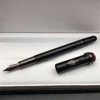Alta calidad Black Classic Fountain Pen Herencia serie exquisito serpiente clip de papelería oficina oficina escuela escritura pelota de rodillo liso