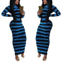Casual Dresses Autumn Sexy Striped Print Bodycon Long Dress Elegant O Neck Women Maxi Sleeve Party Vestidos