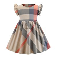 Vestido de diseñador de chicas de verano Fashion Kids Ruffle Funda Mosca Lattice Casual Vestidos Niños Algodón Plaid Plised Vestido Ropa para niños V523