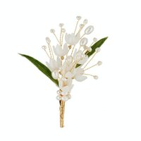 SINZRY creative fashion hair wrap accessory natural pearl lily flower handmade brooches pin for women