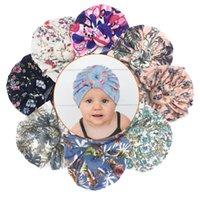 Nette Baumwolldruckkappe Runde Knoten Kinder Baby Kind Turban Hut Bogen Kleinkind Beanie Caps HeadWrapps Zubehör Fotografie Requisiten Mädchen Sommer