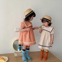 الصيف ملابس الأطفال كلية البحرية الفتيات فساتين التلبيب الغربية نمط طفلة تنورة قصيرة الأكمام الأميرة اللباس للبنات Q0716