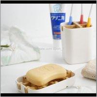 الأطباق اكسسوارات حمام المنزل حديقة قطرة التسليم 2021 صابون خشبي صحن البلاستيك حامل الحاويات مربع للحمام السفر حمل القضية DHB5419 1