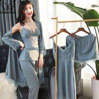 QueenraL Silk Pajamas 5 штуки наборы кружева женские сатин Pajama летние Pijama Sexy Mujer спать для женщин груди