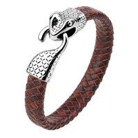 Chino Pulsera con estilo Acero Inoxidable Snakehead Cuero Tejido Link Men's Supply Link, Cadena