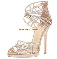 Mulheres que vendem a cruz de camurquia de turquesa Sandálias de salto alto de salto alto Glitter Sapatos de casamento de cristal