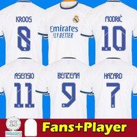 كرة القدم الفانيلة ريال مدريد 21 22 البنزيما العلب مخاطر المشجعين camiseta دي فوتبول 2021 2022 كروس madric ايسكو لكرة القدم قميص الرجال أطقم 123