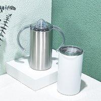 التسامي Tumblers مستقيم 12 أوقية المشروبات كؤوس القهوة المياه أكواب آذان الزجاج المعزول والأغطية A16