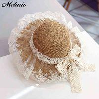 Melario girl chapeaux été bouchons de fleurs de dentelle de la dentelle pour bébé fille chapeaux enfants chapeau de paille respirant joli chapeau de bébé chapeaux 210412