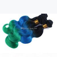 9A Grade Brazilian #1B blue green Colorded Hair Bundles 3 Tone Virgin Hair Weaves Body Wave Ombre Hair Extensions 3pcs lot
