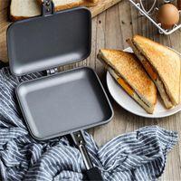 Sandwich Toaster Grill Snack fabricante de sartén antiadherente Sartén doble con asas de sartenes