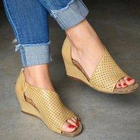 designer Fashion Summer Woman Sandals Shoes Women Wedges Platform Shoes Ladies Clog Sandalia Female Zipper PU Peep Toe