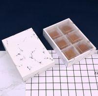 3 حجم الرخام تصميم ورقة مربع مع متجمد pvc غطاء كعكة الجبن الشوكولاته صناديق ورق الزفاف حزب الكوكيز مربع هدية مربع HWF10946