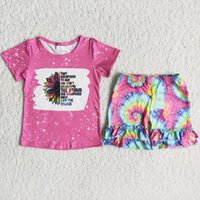 Rts Baby Girls Designer Clothes Sunflowers Short Sleeves T Shirt And Tie Dye Shorts Kids Boutique Clothing Sets Summer Set
