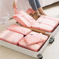 Storage Bags 7Pcs Set Travel Organizer Suitcase Packing Set Cases Portable Luggage Clothes Shoe Tidy Pouch