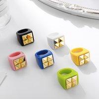 2021 verão pop cor combinando anel acrílico estilo coreano moda geométrica quadrado resina anéis de dedo mulheres presentes jóias