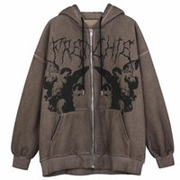 Women's Hoodies & Sweatshirts Vintage Angel Print Oversized Female Zip Up Long Sleeve Sweatshirt Y2K Aesthetic Autumn Grunge Streetwear