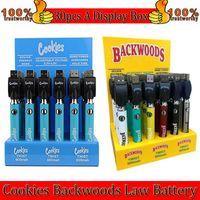 Cookies Backwoods Law Twist Twist Precalentamiento VV batería 900mAh Tensión inferior Ajustable Cargador USB Vape Pen 30pcs con caja de pantalla Fábrica al por mayor