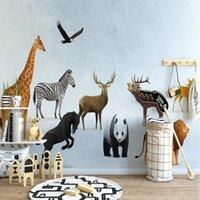 Wallpapers Custom Mural Wallpaper Nordic Minimalist 3D Cartoon Geometric Animal Children's House Background Wall Painting Papel De Parede