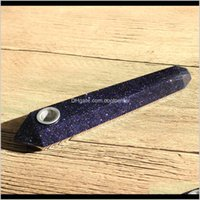 Hjt Wholesale Modern Custom Smoking Natural Blue Goldstone Crystal Quartz Tobacco Healing Hand Pipes 8Ae55 Qsicz