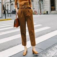 Women's Pants & Capris High-Waist Women Autumn And Winter Loose Belt Korean-Style Woolen Harem Fashion Casual