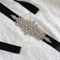 Belts L5YC 270x4cm Women Wedding Sash Elegant Rhombic Rhinestone Faux Crystal Ribbon Bridal Wide Waist Belt Jewelry Dress Cummerbund