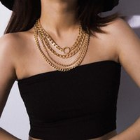 Chains Jewelry Geometric Mix With Multi-layer Necklaces Female Personality Punk Chain Round Micro Inlaid Necklace