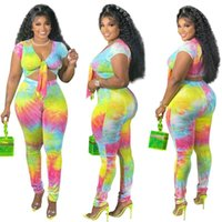 Plus Size Tracksuits Summer Jogging Suits For Women Tie Dye Gradient Printing Lace Up V-neck Crop Top + Pants Leggings Sexy Two Piece Set Tr