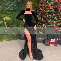 Sexy Black Long Sleeves High Neck Mermaid Evening Dress Velvet Side Slit Caftan Arabic Prom Gowns Formal Party Dresses