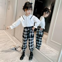 Clothing Sets Children's Suit For Teenage Girl Long Sleeve Doll Collar Shirt+Plaid Cargo Pants Korean Style Fashion Casual Girls Outfits