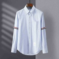 New TB Long Sleeve Men's and women's same double sleeve ribbon lovers' casual fashion brand Blue Stripe Shirt
