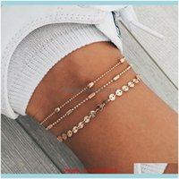 Charm Jewelrybohemian Bracelets Set Bead Women Fashion Three Layer Sequins Beaded Ankle Bracelet Foot Chain Beach Jewelry Drop Delivery 2021
