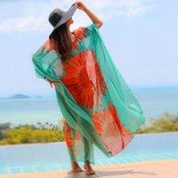 Green Bohemian Floral Impresso Chiffon Túnica Praia Vestido Plus Size Mulheres Verão Beachwear Sexy Ver Calhe Maxi Vestido N679 210416