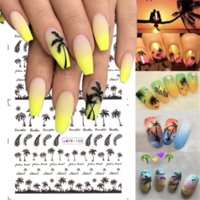 1pcs Tropical Style Summer Palm Tree Design Nail Art Stickers Coconut Tree Water Decal Transfer Paper Decals Manicure DIY Decorations Accessories