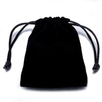Fashion Flannel Bags Drawstring Black Velvet Jewelry Pouches Mobile power Multi Size Packaging Gift Bag