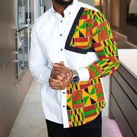 Erkek Casual Gömlek Renk Blok Man Gömlek Geometrik Baskı İnce Tek göğüslü Tee Afrika 2021 Beyler İş İş