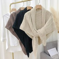 Scarves Winter Women Triangle Poncho Scarf Knitted Belt Triangular Cape Shrugs Shawl Wraps Neck Collar
