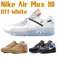 Nike Air Cushion 90 الصحراء خام الرجال الاحذية أسود أبيض مدربين الرياضة 90 ثانية أزياء الرجال النساء أحذية رياضية في الهواء الطلق chaussures مع علامة الولايات المتحدة 7-11