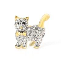 새로운 도착 황동 골드 브로치 데이트 고양이 동물 브로치 고품질 유행 크리스탈 브로치 핀