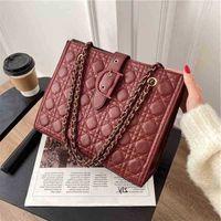 New 2021 Korean Fashion Rhombic Letter Tote Bag Temperament One Shoulder Messenger Versatile luxury Bags factory outlet hileng UQV9