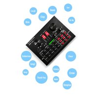 PRO Live Sound Card Audio Mixer Bluetooth 15 Multiple Modes Sound Effects for Computer Phones Singing and Recording