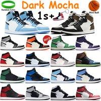 1 1s 높은 어두운 모카 남성 농구 신발 중간 빛 연기 회색 트위스트 시카고 로얄 UNC 특허 BRED 발가락 법원 보라색 여성 운동화