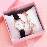Wristwatches Free Drop 2 PCS Leather Strap Ladies Luxury Watch Bracelet Set Quartz Wristwatch Women Simple Clock Gift Reloj