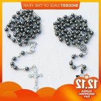 10pcs 2styles handmade 6mm hematite beads rosary chain religious necklace Catholic Cross Religious Necklaces J1218